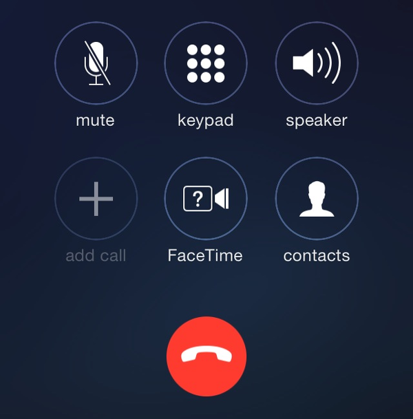 iOS 7.1 new end call button for phone app