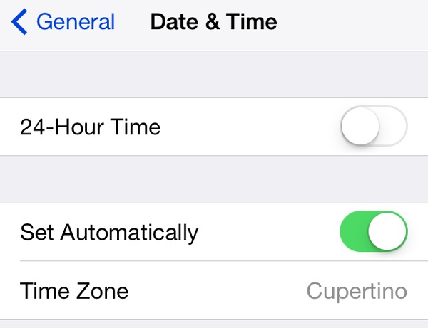Adjust iOS date and time settings if you have a problem connecting to the iTunes Store.