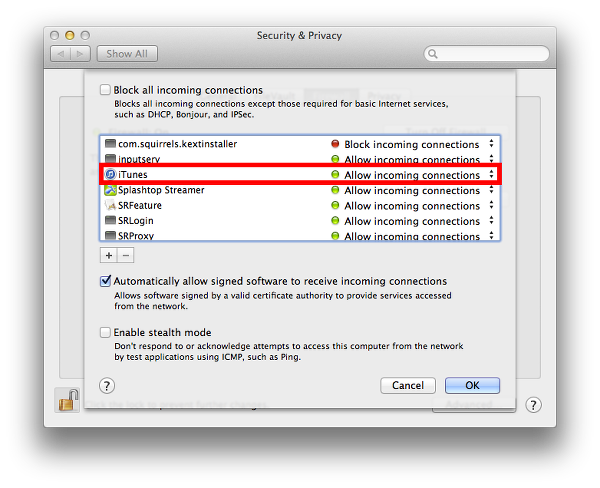 Mac OS X firewall settings may need to be changed to allow iTunes Store access.