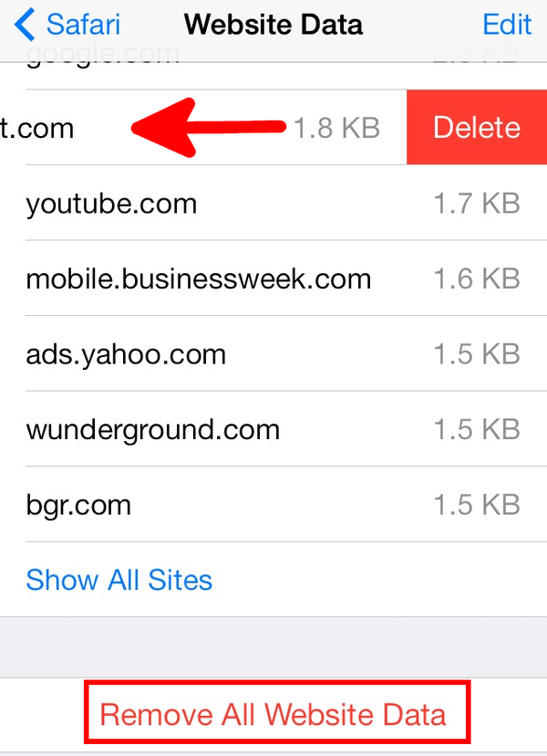 remove iPhone website data from Safari