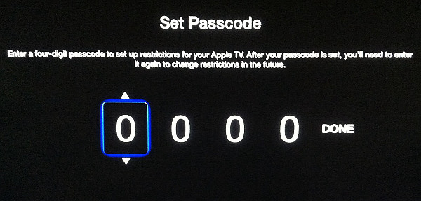 Passcode for Apple TV Restrictions