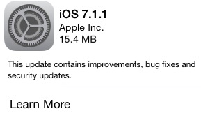 iOS 7.1.1 upgrade