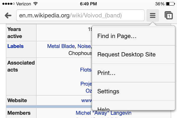How to search within a web page in Chrome for iOS