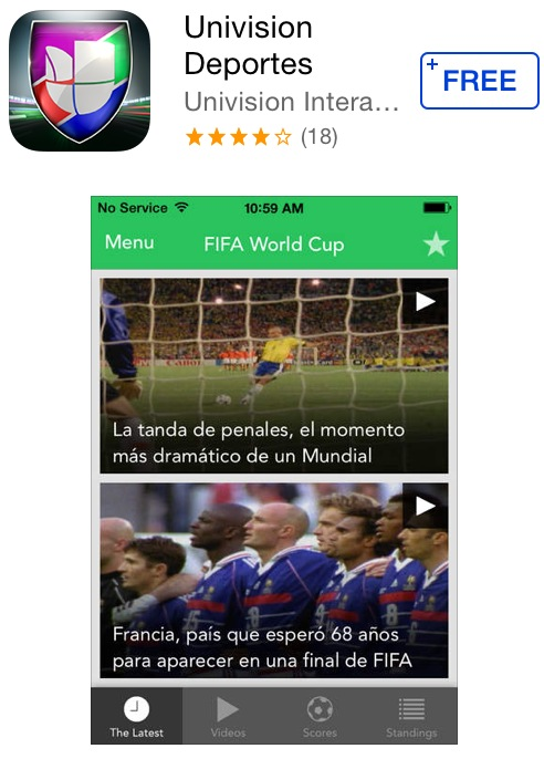 Watch the World Cup for free with the Univision Deportes app for iOS