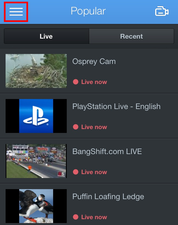 Tap the menu button on Ustream  to access the search feature.