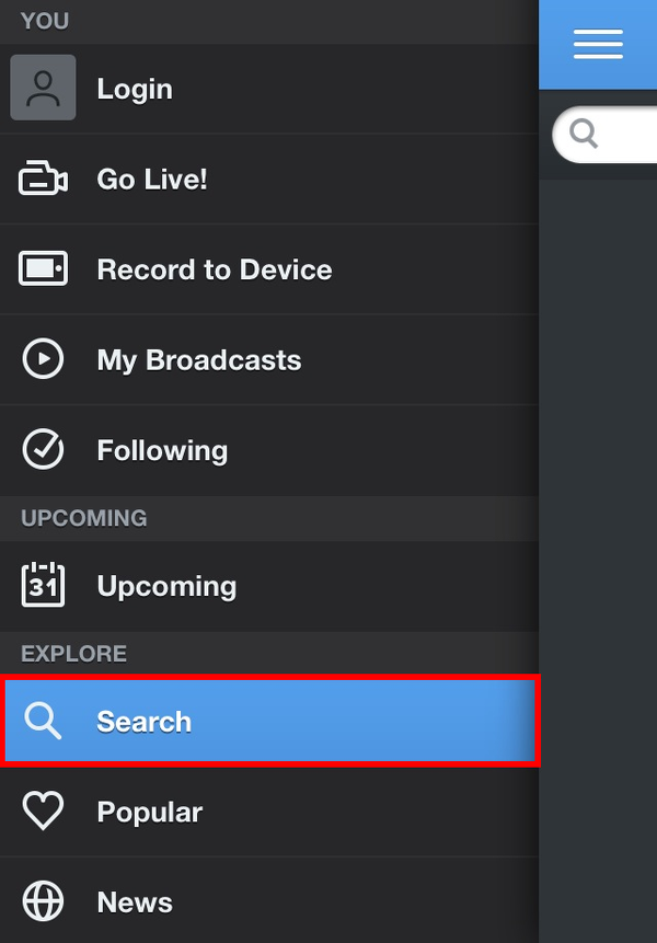 Tap the Ustream search button to access the search field.