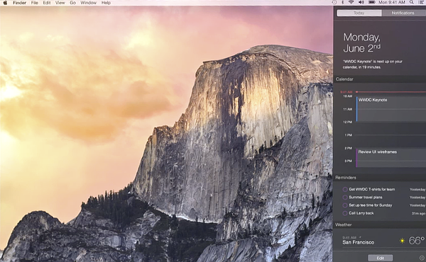 OS X 10.10 Yosemite Notification Center Today view