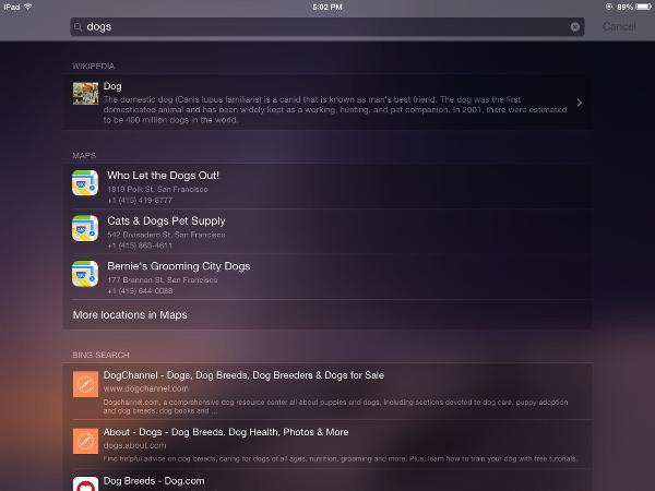iOS 8 Spotlight Suggestions