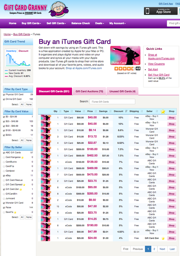 Gift Card Granny iTunes Gift Cards
