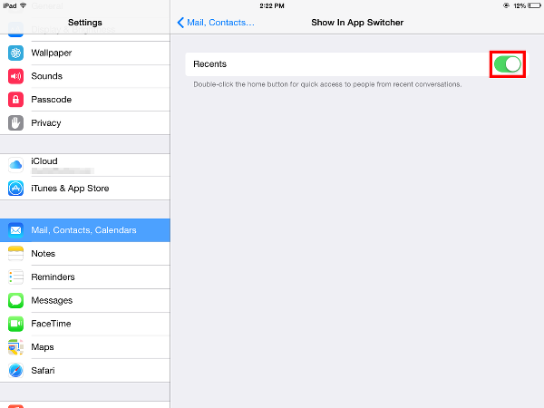 turn off Recents in App Switcher