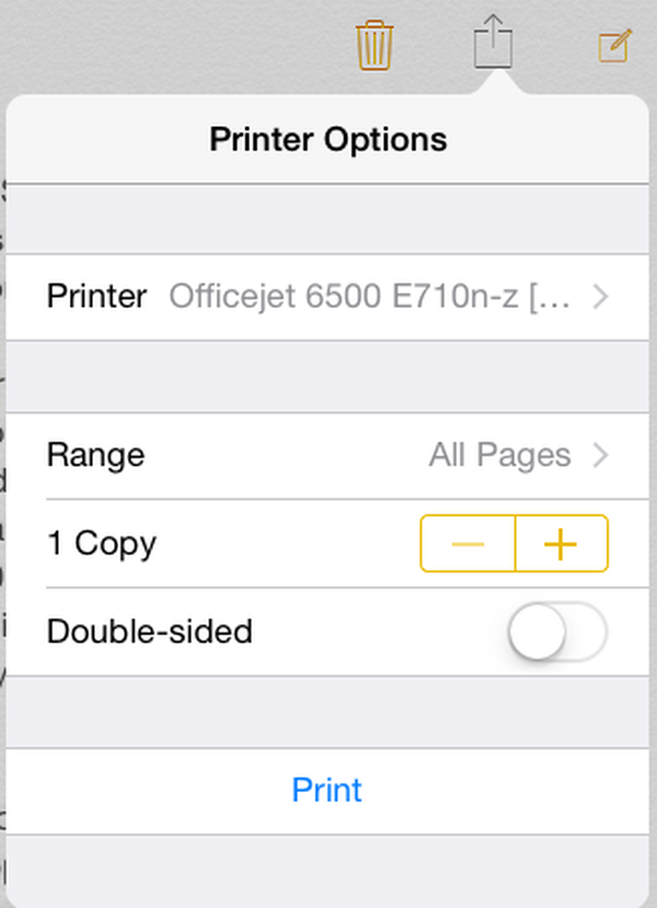 iPad printing options
