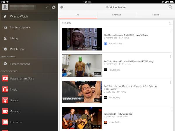 YouTube app for iPad