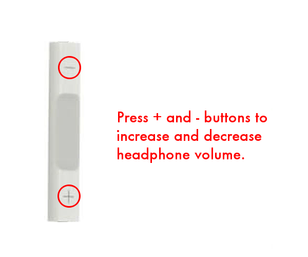 Adjust headphone volume with + and - buttons