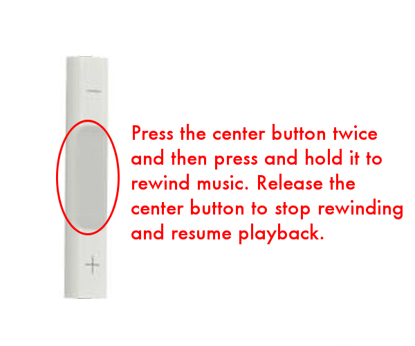 Rewind music using iPhone headphone controls
