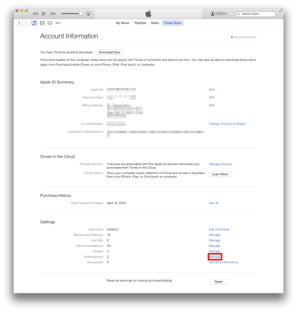 Account Settings on iTunes for OS X