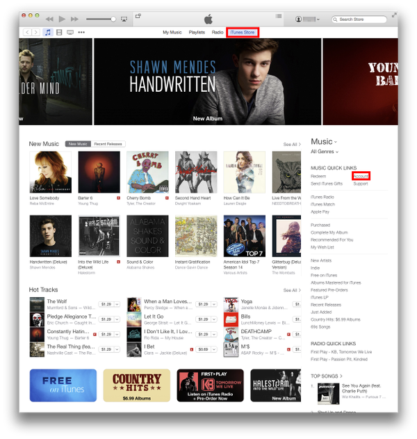 Main iTunes Store screen on OS X