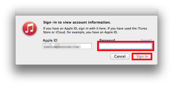 Sign In to iTunes Store on OS X