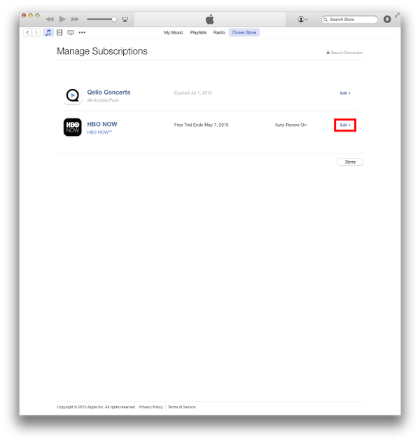 iTunes Subscriptions on OS X