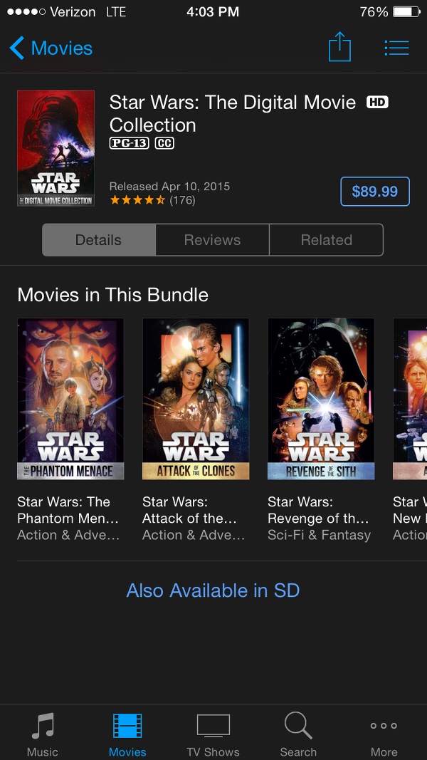Star Wars: The Digital Movie Collection on iTunes