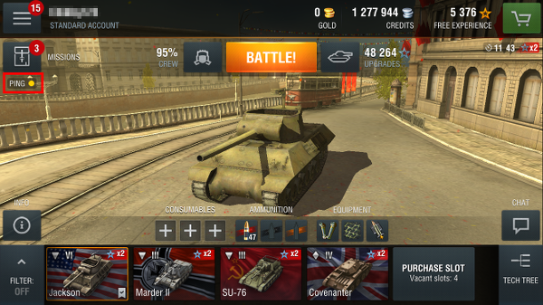 World of Tanks Blitz ping latency