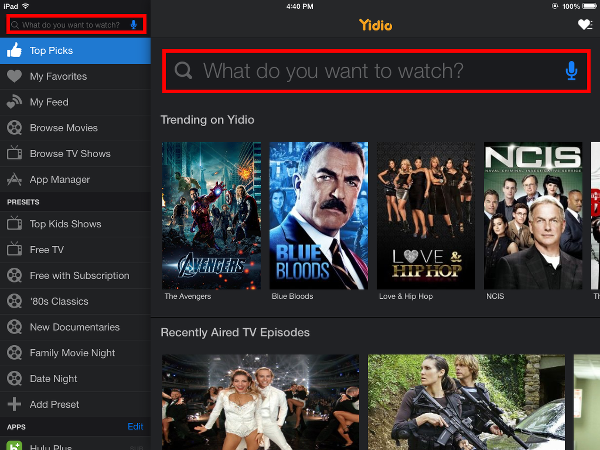 Search for TV Shows with Yidio
