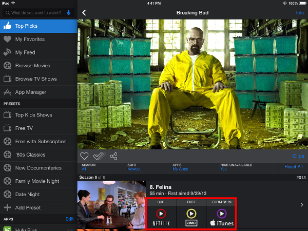 Viewing options presented by Yidio