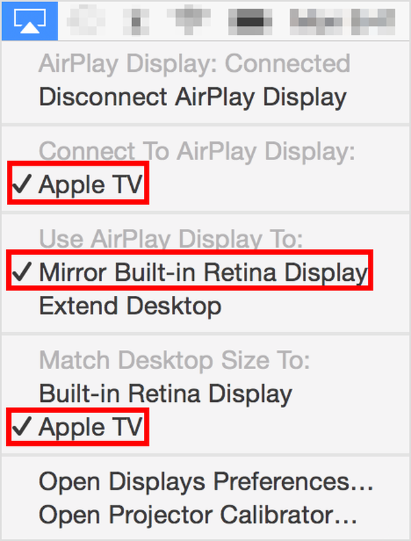 AirPlay menu for OS X