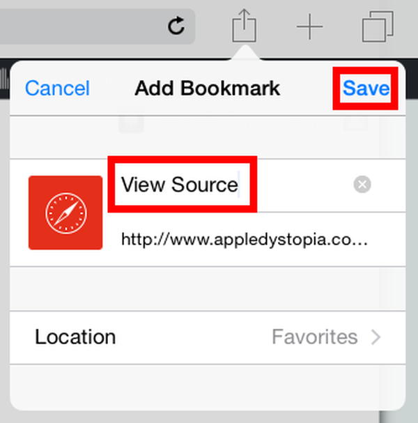 name the bookmark View Source