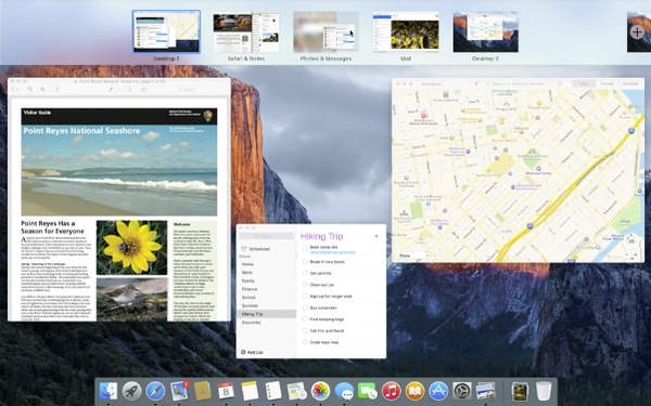 OS X 10.11 El Capitan drag app onto full screen app for split view