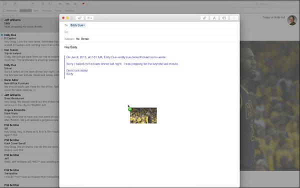 OS X 10.11 El Capitan drag image into docked email