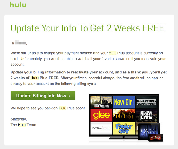 Put Hulu subscription on hold to get two free weeks