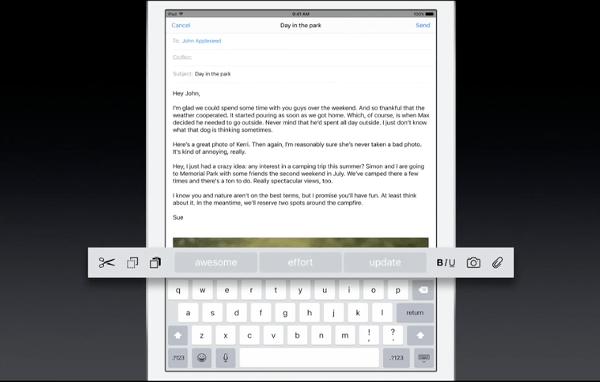 iOS 9 iPad keyboard toolbar