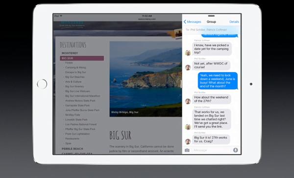 iOS 9 iPad slide over multitasking