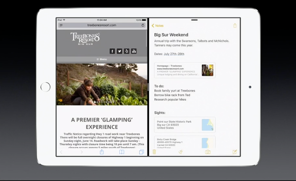 iOS 9 iPad split screen multitasking