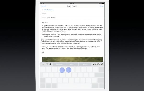 iOS 9 iPad two finger trackpad