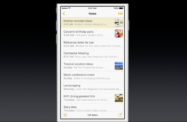 iOS 9 Notes attachment view