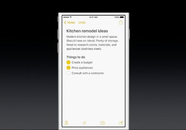 iOS 9 Notes checklist