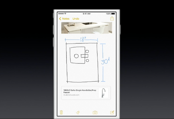 iOS 9 Notes embed Safari link