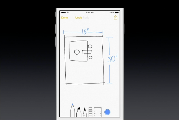 iOS 9 Notes sketch feature