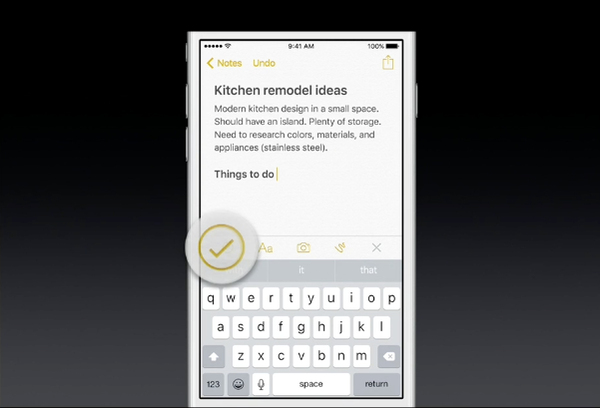 iOS 9 Notes toolbar