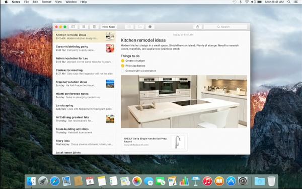 OS X 10.11 El Capitan Notes app
