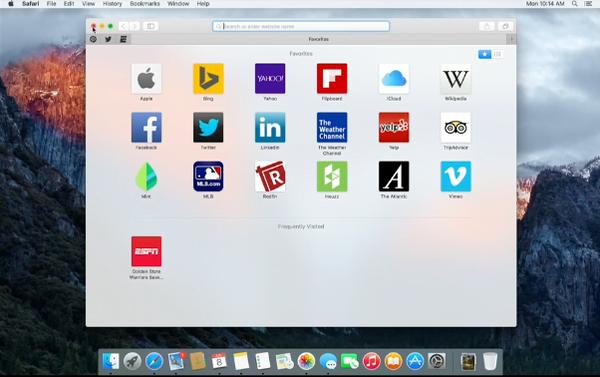 OS X 10.11 El Capitan Safari pinned sites on Favorites panel