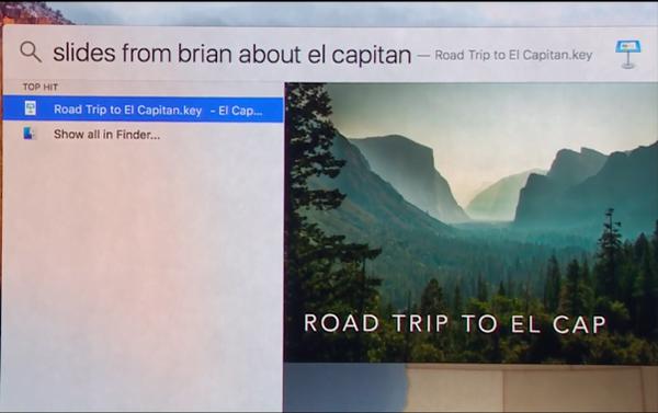 OS X 10.11 El Capitan Spotlight understands English queries