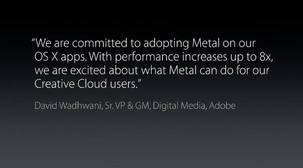 OS X 10.11 El Capitan Adobe endorses Metal
