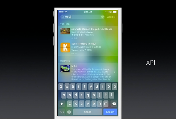 iOS 9 Spotlight API to search within apps