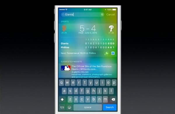 iOS 9 Spotlight sports scores