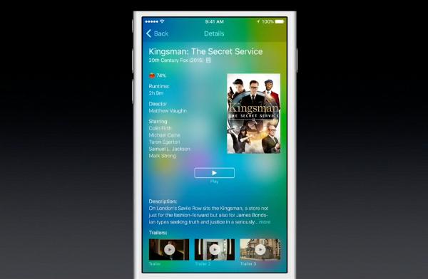 iOS 9 Spotlight video search