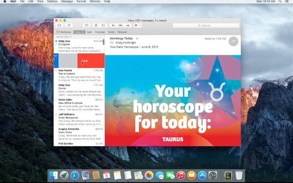 OS X 10.11 El Capitan swipe left to delete email
