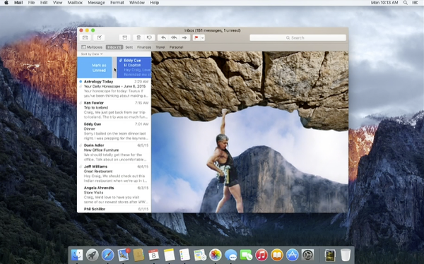 OS X 10.11 El Capitan swipe right to mark email as read