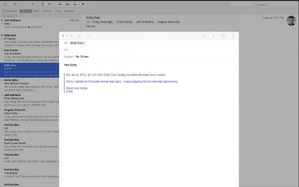OS X 10.11 El Capitan tuck mail below screen